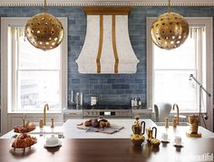 Blue glazed subway tile? Dream Kitchen Designs - via House Beautiful