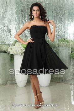 Cheap Black A-line Strapless Knee Length Chiffon Bridesmaid Dress