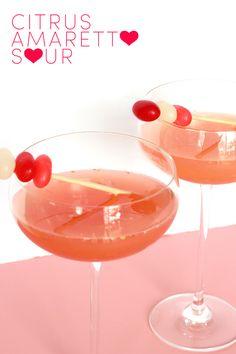 Valentine Citrus Amaretto Sour Cocktail & jelly bean stir stick
