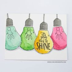 x stamp set with 18 stamps. Light bulb crafts are very trendy right now, so why not incorporate that in to your card making too? You can create a vase wit Bullet Journal Quotes, Bullet Journal Inspiration, Light Bulb Crafts, Concord And 9th, Watercolor Cards, Watercolour, Clear Stamps, Diy Cards, Doodle Art