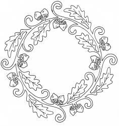 Wreath of oak leaves and acorns Embroidery Stitches, Embroidery Patterns, Hand Embroidery, Stitch Patterns, Acorn And Oak, Leaf Template, Templates, Oak Leaves, Celtic Designs