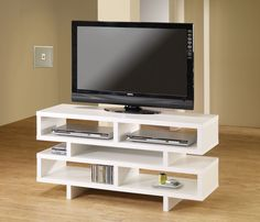 700721 White and cappuccino T.V. stand,0pen storage space.