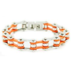 """1/2"""" Wide Two Tone Silver & Orange with orange crystal centers motorcycle chain. Buy Silver & Orange Bike Chain Bracelet with Crystals online for the best price of $29.95."""