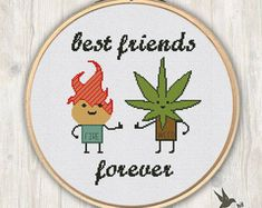 Fire Weed Best Friends Forever, funny cross stitch pattern, modern cross stitch pattern, friends cross stitch pattern, needlecraft