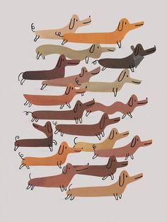 Dog And Puppies Drawings .Dog And Puppies Drawings Art And Illustration, Illustrations, Arte Dachshund, Dachshund Love, Daschund, Cool Dog Houses, Posca Art, Plakat Design, Weenie Dogs