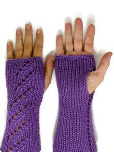 Knit Hand Warmers Lacey Purple Fingerless Gloves Womens Winter