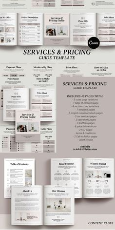 Services and Pricing Welcome Packet template - 45 Pages in Canva Format, US Letter, and A4 Sizes This template is ideal for creating client welcome packets, price lists, services & product guides, and project proposals. The template is fully editable and available in Canva format, A4 (210x297mm), and US Letter (8.5x11 inches) sizes. All you need to edit the Client #modern #Template #Graphicdesign #Graphics #creative #New #Creative #Resources