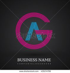Letter AG or GA linked logo design circle G shape. Elegant red and blue colored letter symbol. Vector logo design template elements for company identity. - stock vector