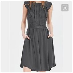 310ce4c6157b Shop Women s Banana Republic Gray size 2 Dresses at a discounted price at  Poshmark. Description  NWT Banana Republic Pintuck Flutter Sleeve Dress in  dark ...