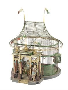 AN ITALIAN POLYCHROME-PAINTED BIRDCAGE, 20TH CENTURY