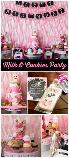 A milk and cookies girl birthday party with Oreos, animal cookies and chocolate chip cookies! See more party planning ideas at CatchMyParty.com!