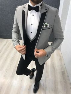 Collection: Spring – Summer 2020 Product: Slim Fit Tuxedo Color Code: Gray Size: Suit Material: satin fabric, lycra Machine Washable: No Fitting: Slim-fit Package Include: Jacket, Vest, Pants Gifts: Flower, Chain and Bow Tie Dry Clean Only Grey Tuxedo, Tuxedo Suit, Tuxedo For Men, Gray Tuxedo Wedding, All Black Tuxedo, White Tux, Mens Fashion Suits, Mens Suits, Groom Suits