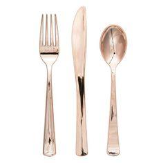 Rose Gold Plastic Cutlery Set