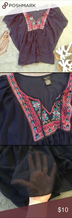 Flowy Navy Blue Top This shirt is lightweight, boho, and perfect for summer. The embroidery is beautiful. In like-new condition. Rue 21 Tops Blouses
