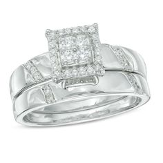 Adorable Round Cut White CZ 14K White Gold Over .925 Sterling Silver Bridal Ring #eightyjewels #BridalSet #Engagement