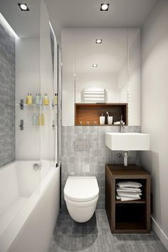 Despite the small space, the designer makes room for a full sized tub...