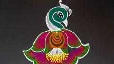 Simple and small peacock rangoli Rangoli Designs Images, Beautiful Rangoli Designs, Rangoli With Dots, Simple Rangoli, Peacock Rangoli, Muggulu Design, White Peacock, Creative Embroidery, Peacock Design