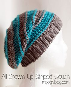 All Grown Up Striped Slouch Hat - great free crochet pattern, and there are matching fingerless mitts/arm warmers!