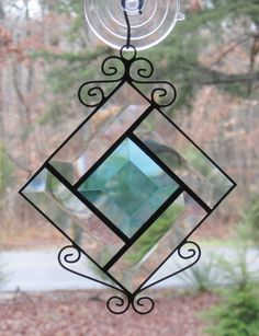 Stained Glass Suncatcher Turquoise & Clear by CartersStainedGlass, $14.00