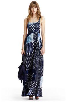 DVF Georginna Chiffon Apron Maxi Dress in patched dots denim
