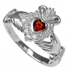 January Birthstone Solid White Gold Claddagh Ring