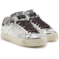 Golden Goose May Metallic Leather Sneakers ($359) ❤ liked on Polyvore featuring shoes, sneakers, silver, lace up sneakers, metallic shoes, silver metallic shoes, black sneakers and distressed sneakers