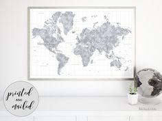 "Highly detailed watercolor world map print, watercolor world map with cities grayscale, no quote, large 60x40"" World map print featuring a highly detailed world map in gray watercolor style. Please zoom in the images to see them better :) Size: 60x40"" Color combination: Jimmy - light grayscale in watercolor style (shown) Quote: No quote (shown)"