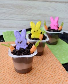 Turn up the adorableness with these Peeps pudding cups.