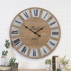 Harris Wood and Galvanized Metal Wall Clock : Wood|Metal