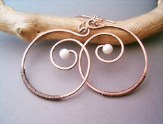 Wire Wrapped Spiral Earrings oldlooking Copper   by GearsFactory, €12.00