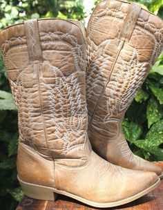 COCONUTS Paisley Tan Vegan Leather Western  Boots Women 6.5 #Coconuts #WesternRockArtistCowgirl