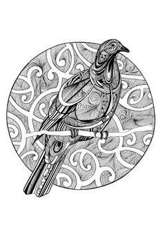 B&W Wood Pigeon - kiwiana - fiona-clarke.com