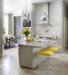 Nancy Nolan Photography | Yellow Kitchens | Lucite Barstools