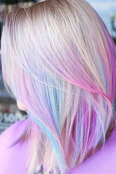 30 Breathtaking Ways Of Pulling Off Unicorn Hair hair color shades – hair ideas Pretty Hair Color, Hair Color Purple, Hair Dye Colors, Blonde Hair With Purple Tips, Blond Hair Colors, Fun Hair Color, Unicorn Hair Color, Blonde Dye, Fall Blonde
