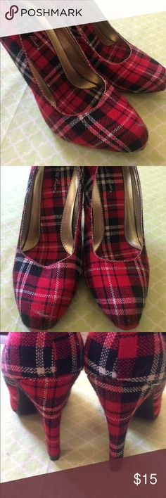 "Red Tartan Plaid Platform Heels 4.5"" heel, seems like a 0.5-1"" platform (hard to tell). Worn once for a Christmas party for 2 hours - have sat in a closet for 4 years since. Charlotte Russe Shoes Platforms"