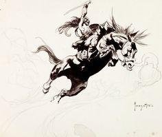 Frank Frazetta.  Kubla Khan Plate 5 Preliminary Sketch Original Art (circa 1977)