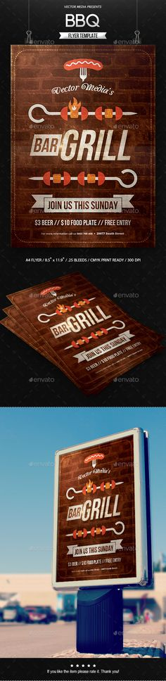 BBQ Flyer Design Idea Template PSD. Download here: https://graphicriver.net/item/bbq-flyer/17027167?s_rank=164&ref=yinkira