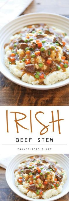 Irish Beef Stew - Amazingly slow-cooked tender beef with garlic mashed potatoes . - Irish Beef Stew – Amazingly slow-cooked tender beef with garlic mashed potatoes – comfort food - Slow Cooker Recipes, Crockpot Recipes, Soup Recipes, Cooking Recipes, Recipies, Recipes Dinner, Dinner Ideas, Cooking Ribs, Supper Ideas