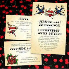 rockabilly wedding invitations and rsvp | offbeat wedding invite, Wedding invitations