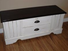 Remodelaholic | White Cedar Chest With Dark Stained Top