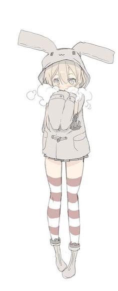✮ ANIME ART ✮ bunny girl. . .rabbit girl. . .bunny hoodie. . .coat with rabbit ears. . .striped socks. . .boots. . .scarf. . .cute. . .moe. . .kawaii