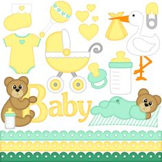 Baby Digital Clip Art Set by A Scrap of Time #digiscrap #scrapbooking #cardmaking #digitalscrapbooking #papercraft #clipart #baby