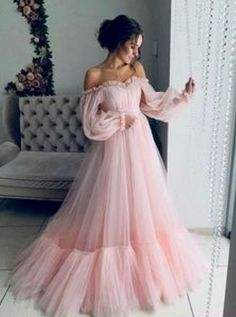 Long sleeve prom dresses 2019 - elegant prom dresses with sleeves Prom Dresses Long With Sleeves, Elegant Prom Dresses, Pink Prom Dresses, A Line Prom Dresses, Tulle Prom Dress, Prom Party Dresses, Pretty Dresses, Homecoming Dresses, Quinceanera Dresses