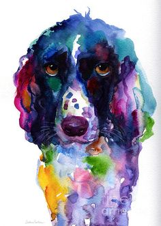 This original colorful painting of English setter Spaniel dog puppy was painted with watercolors on paper. Copyright Svetlana Novikova. Prints are available on gallery wrapped canvas, metal, acrylic, archival paper, cards, framed and unframed, etc. This v