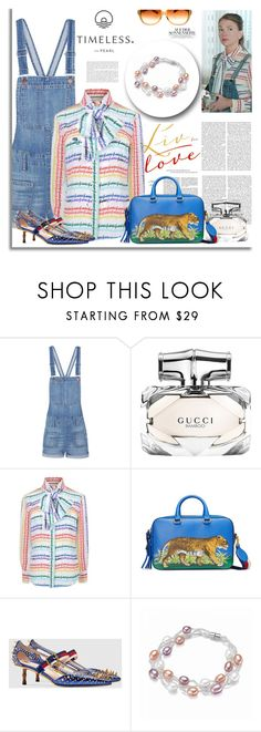 """""""Colorful Pearl Bracelet"""" by timelesspearl ❤ liked on Polyvore featuring Madewell, Gucci and Oliver Peoples"""