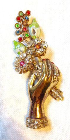 Vintage 1940 Coro Adolph Katz Figural Hand Flower Bouquet Rhinestone Brooch.