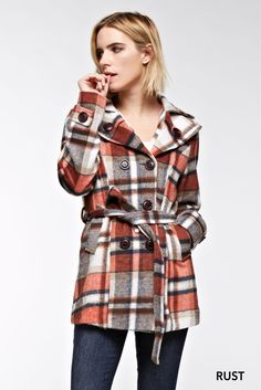 Plaid Wool Peacoat - Rust