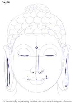 Learn How to Draw Buddha Face (Buddhism) Step by Step : Drawing Tutorials