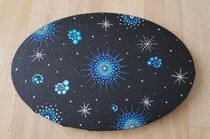 Nachthimmel - ovale Leinwand, Acrylfarben