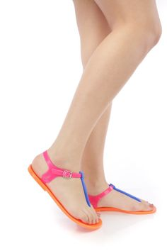 ab8659291 Blue Fuchsia Orange Colorblock Jelly Thong Sandals PVC